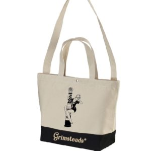 Barber Pole Pinup Girl トートバッグ(BLACK/WHITE) by Grimsteads