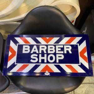 Vintage 『BARBER SHOP』 Double Sided Flange PORCELAIN WILLIAM MARVY 1224 ST PAUL 5 MN. 1960s